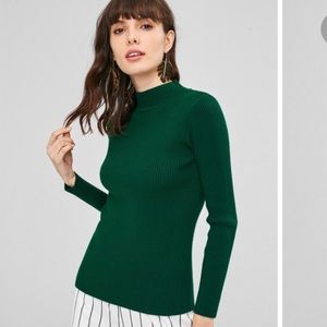 Emerald Green Ribbed Knit Mock Neck Sweater Top
